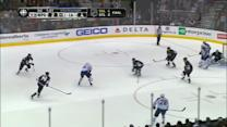 Jonathan Quick lifts his leg for crazy save