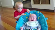 Baby's priceless reaction after scaring younger cousin