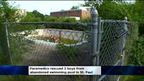 2 Boys Pulled From Abandoned Pool Remain Hospitalized