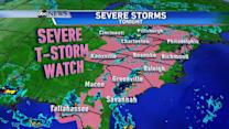 Severe Storm Watch From Tallahassee to Philadelphia