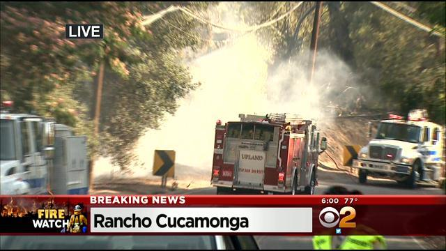 Home Damaged As Crews Battle Brush Fire In Rancho Cucamonga