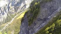 Intense BASE jumping footage over stunning terrain