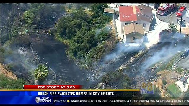 Brush fire evacuates homes in City Heights