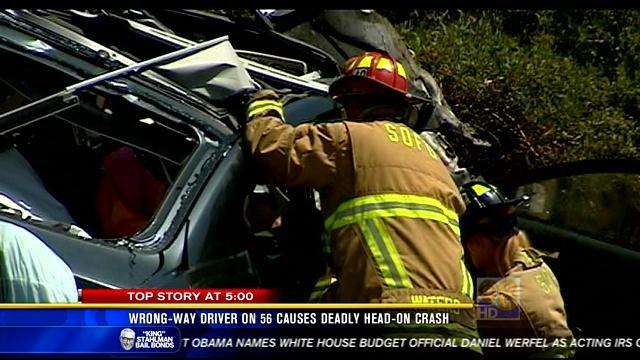 Wrong-way driver on SR 56 causes deadly head-on crash