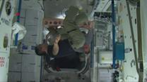 ISS Expedition 39/40 crew members perform circus acts