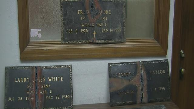 Military grave markers retrieved from thief