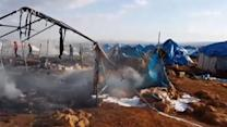 Airstrikes Hit Camp for Displaced Syrians