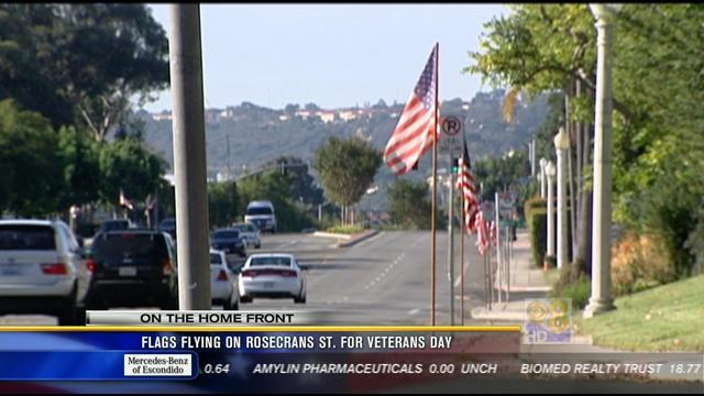 Flags flying on Rosecrans St. for Veterans Day