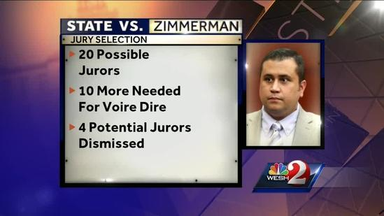 Potential jury pool for Zimmerman case reaches 20