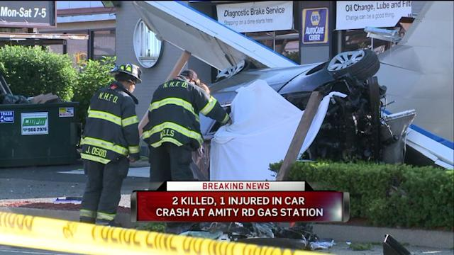Car Flies into Gas Station