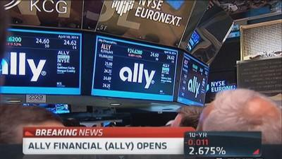 Ally Financial opens at $24.25, below IPO price