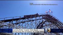 Cyclone Roller Coaster Gets Stuck At Coney Island