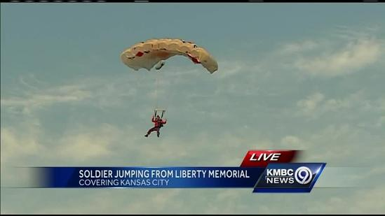 Watch: British soldier BASE jumps off of KC's Liberty Memorial