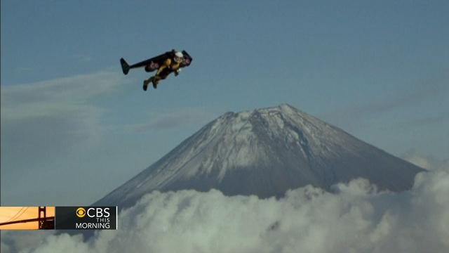 Man flies around Mt. Fuji using jet-powered wing