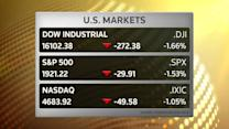 U.S. stocks end lower on mixed jobs data