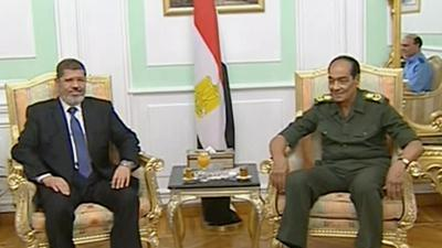 Raw Video: Morsi meets military leaders
