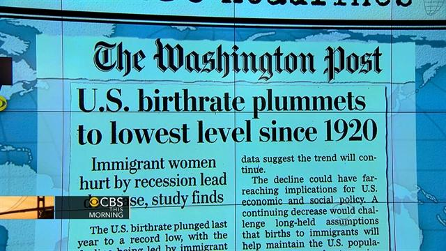 Headlines: U.S. birth rate drops to lowest level since 1920