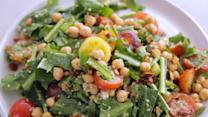 Marinated Chickpeas with Quinoa and Dandelion Greens