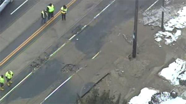 Water main break floods streets in West Philadelphia