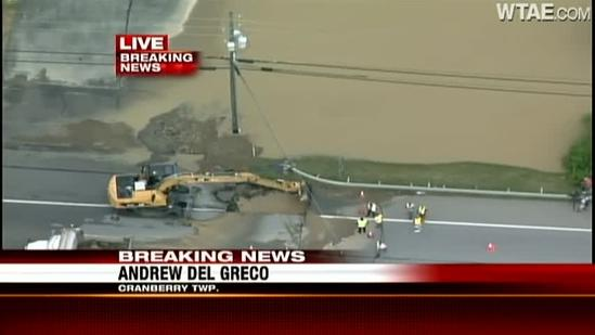 Water main break affects Route 19 in Cranberry