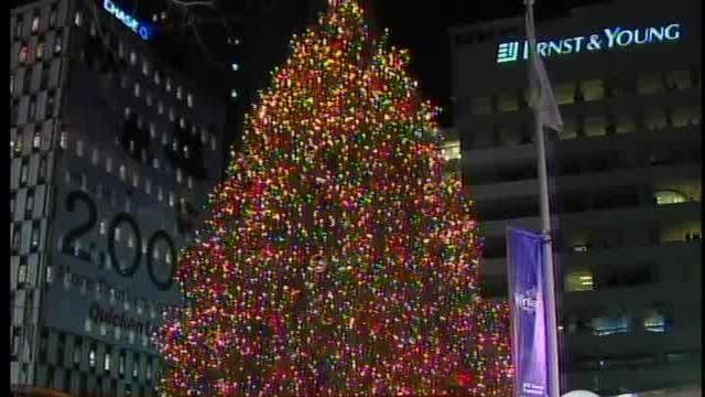 Tree lighting at campus martius