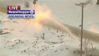 Watch: Spewing Water Main Turns Water Into Snow