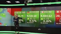 Europe stocks close slightly up on mixed PMI data