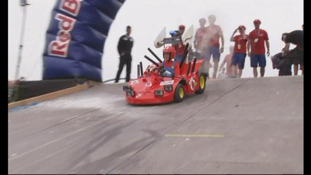 Sebastian Vettel takes part in soapbox race