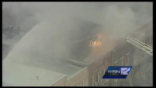 Fire burns in downtown Ripon