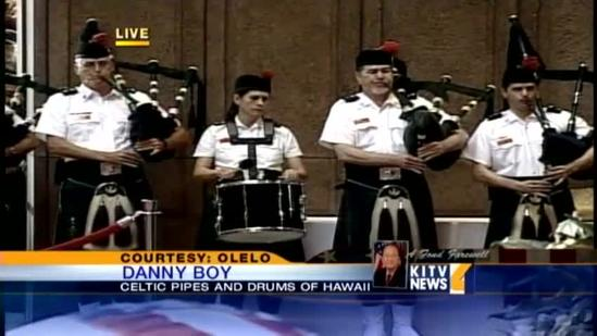 Celtic Pipes and Drums perform 'Danny Boy' at Inouye's service