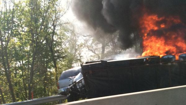 Fiery crash shuts down southbound Northeast Extension in Lehigh County