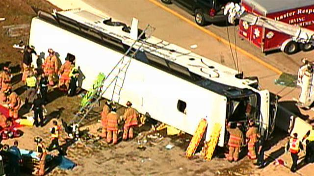 Two dead, 40 injured in Dallas bus crash