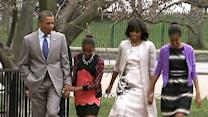 Raw: Obamas Walk to Easter Service