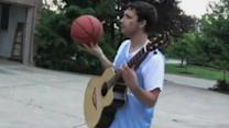 Basketball Trick Shot to the Tune of a Guitar Solo