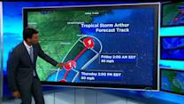 Threatening coast, Tropical Storm Arthur nears hurricane intensity