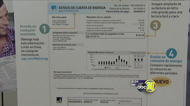 PG&E offers monthly billing statement on Spanish
