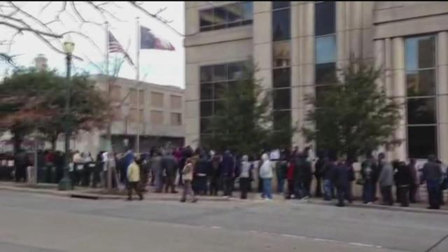 Long lines kept waiting outside courthouse