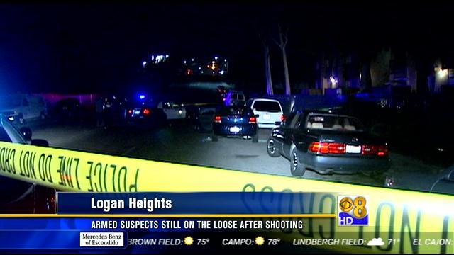 Armed suspects still on the loose after shooting