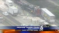 Propane Tanker Crashes on California Freeway