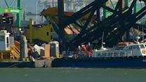 Crane falls over on new eastern span of Bay Bridge