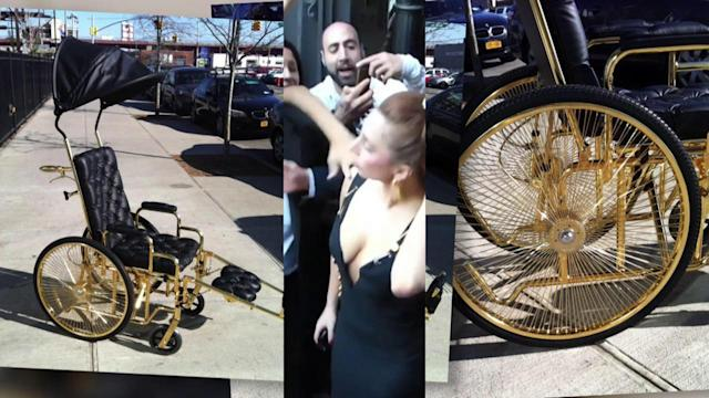 Lady Gaga in 24-Carat Gold Wheelchair After Hip Surgery
