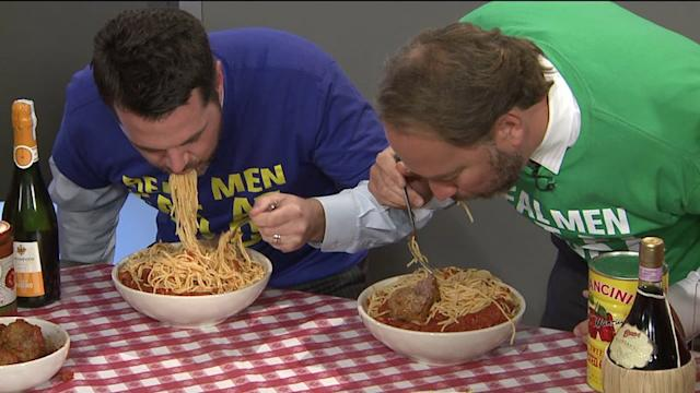 Check Out How Much Pasta These Guys Can Eat In One Minute