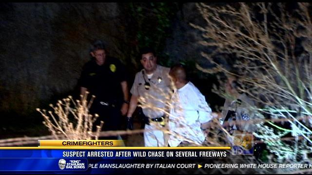 Suspect arrested after wild chase involving several freeways