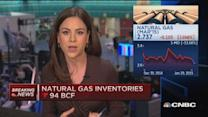 Nat gas inventories down less than expected