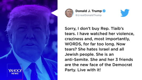Image result for Trump Brushes Tlaib's Tearful Presser: 'Sorry, I Don't Buy Rep. Tlaib's Tears'