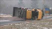 PennDOT salt truck overturns in New Britain, Bucks Co.