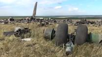 Twisted, charred metal all that remains of Ukrainian jet