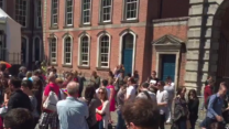 Crowd Gathers at Dublin Castle Awaiting Gay Marriage Vote Result