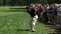 Phil Mickelson trouble from the rough on No. 10 at 2013 PGA Championship