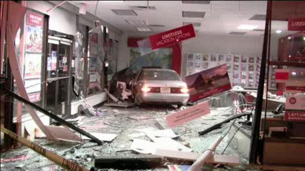 Car crashes into Cherry Hill travel agency